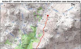 Ritagli della mappa del sentiero nel  SIC Cuscionu-Alcudina